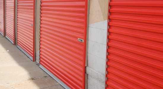 red roll up self storage door